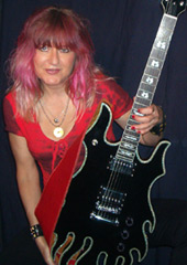 Female Blues Guitarist Shredmistress Rynata with Minarik Inferno Guitar